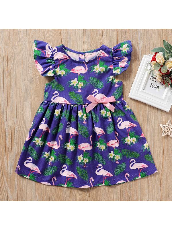 【18M-7Y】Girls Flamingo Print Sleeveless Dress