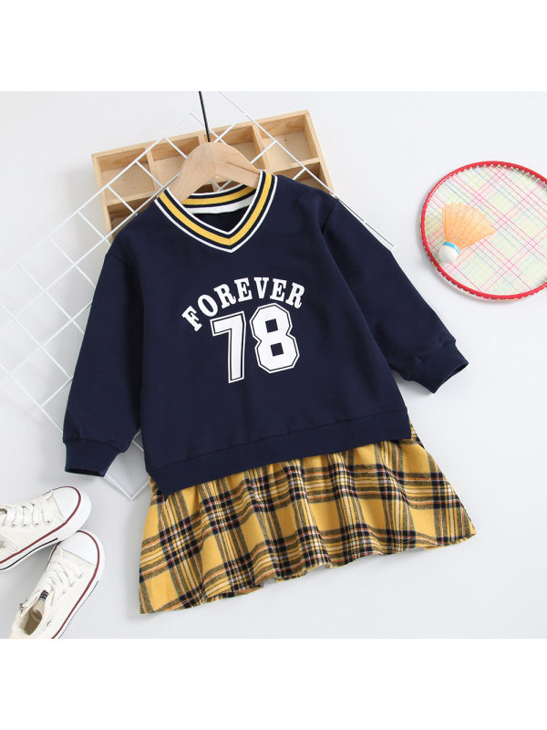 【18M-7Y】 Girls Casual Letter Long Sleeve Sweatshirt Dress
