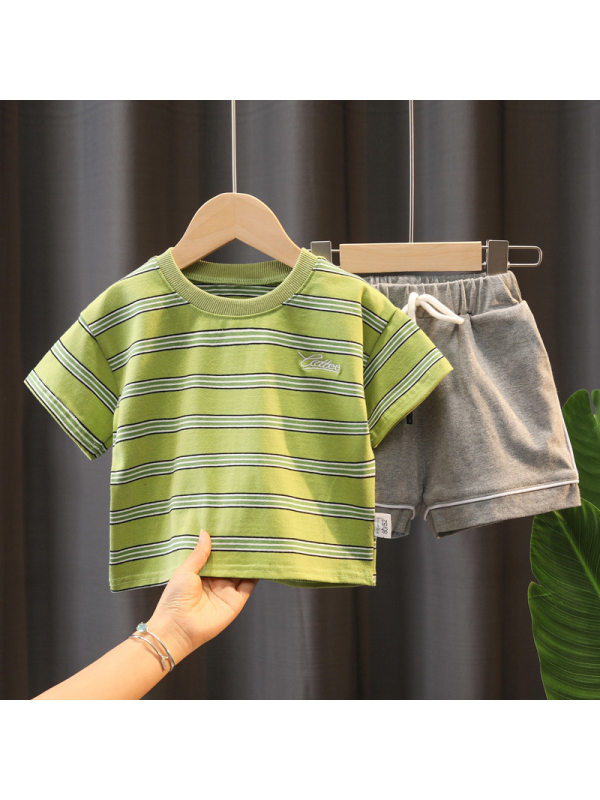 【12M-5Y】Boys Loose Striped Short-sleeved T-shirt And Shorts Casual Two-piece Suit