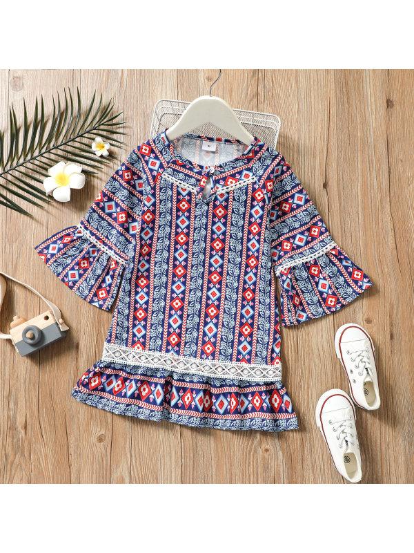 【18M-7Y】Girls Round Neck Flare Sleeve Geometric Print Dress