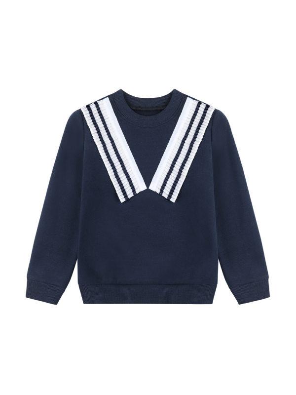 【18M-9Y】Girls Round Neck College Style Long-sleeved Sweatshirt