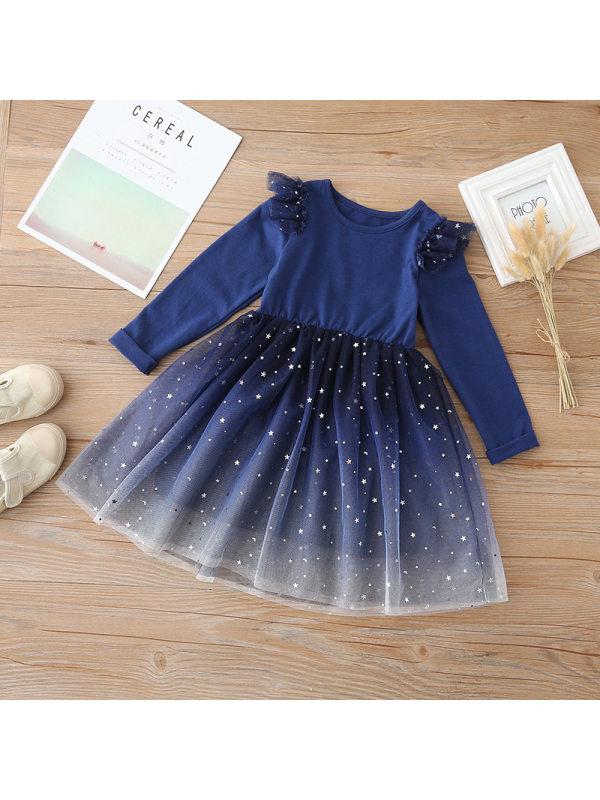 【3Y-13Y】Big Girl Starry Sky Mesh Long-sleeved Dress