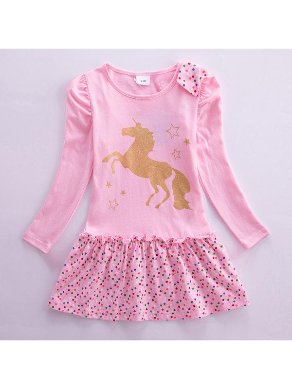 【3Y-8Y】Girl Sweet Unicorn Pattern Long Sleeve Dress