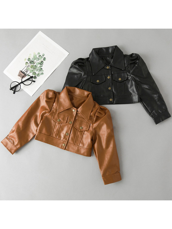 【18M-7Y】Girls Casual Long Sleeved Leather Jacket