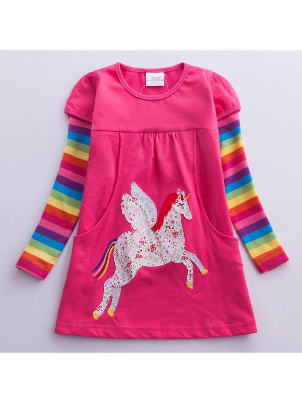 【3Y-8Y】Girl Sweet Rainbow Striped Unicorn Embroidered Dress