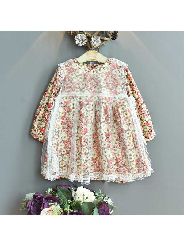 【18M-7Y】Girls Round Neck Floral Mesh Long Sleeve Dress