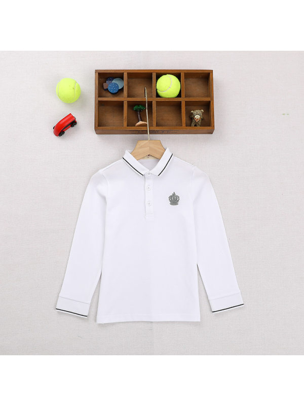 【3Y-15Y】Big Boys College Long Sleeve Lapel Long Sleeve Polo Shirt T-shirt