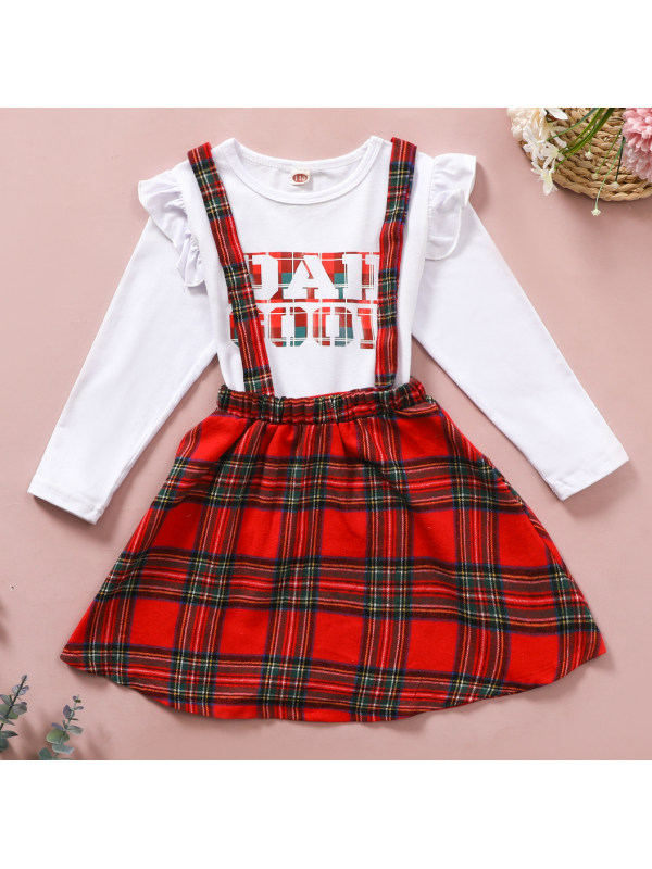 【18M-7Y】Girls Sweet Letters White T-shirt And Red Plaid Skirt Set