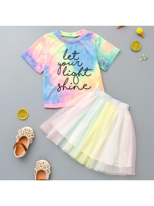 【18M-7Y】Girls Sweet Tie-dye T-shirt And Mesh Skirt Set