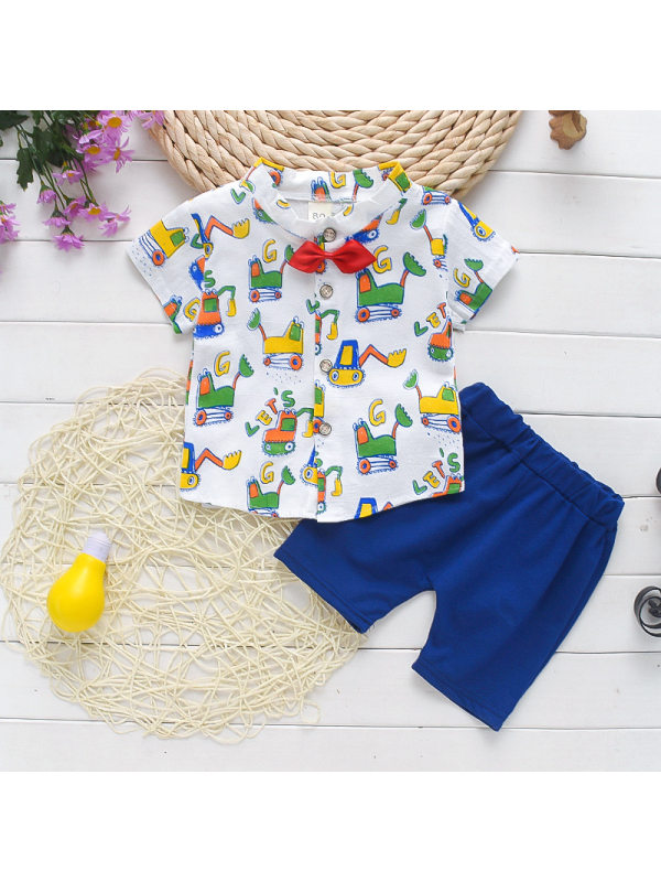 【12M-4Y】Boys Cartoon Print Single-breasted Stand-up Collar Shirt Shorts Suit