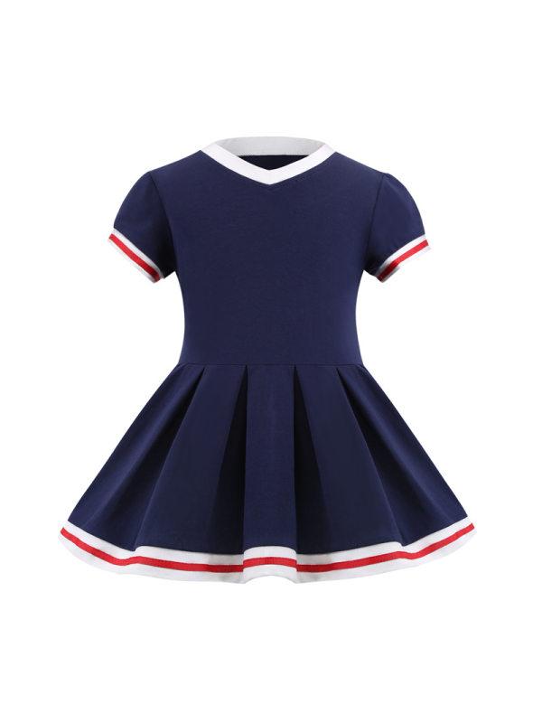 【2Y-7Y】Girls Navy Collar Colorblock College Dress