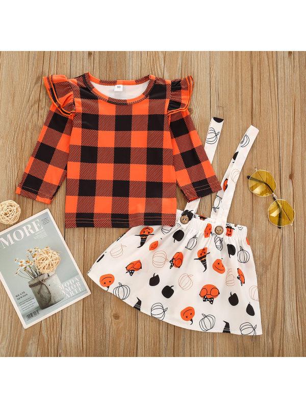 【18M-7Y】Girls Orange Plaid Top With Cartoon Print Suspender Skirt Two-piece Suit