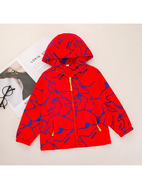 【3Y-13Y】Big Boys Letter Print Hooded Long Sleeve Jacket