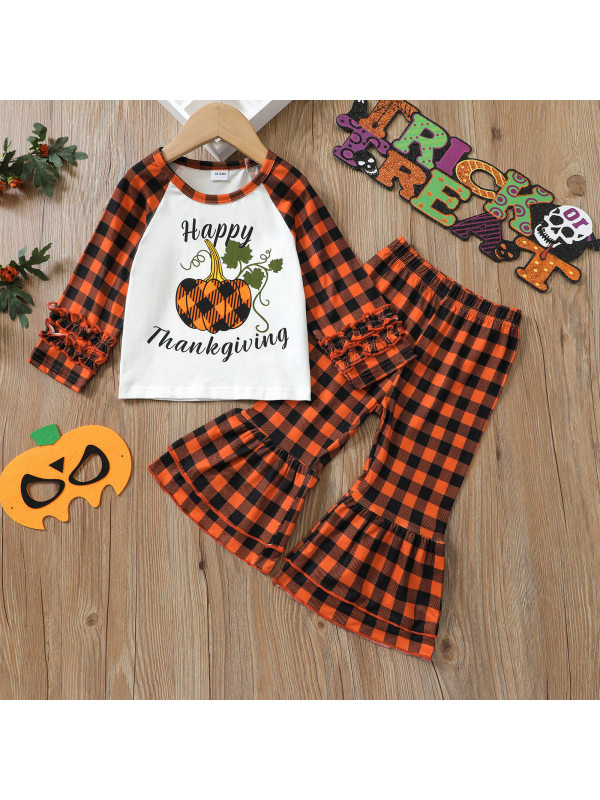 【18M-7Y】Girls Halloween Letter Pumpkin Print With Plaid Flared Pants Two-Piece Set