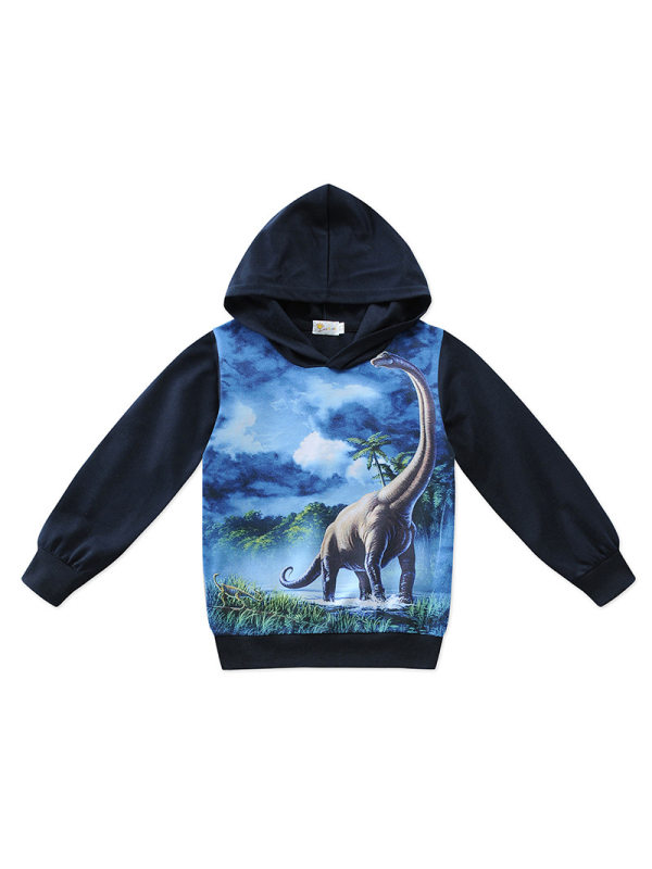【2Y-11Y】Boys Round Neck 3d Printed Long-sleeved Hooded Sweatshirt