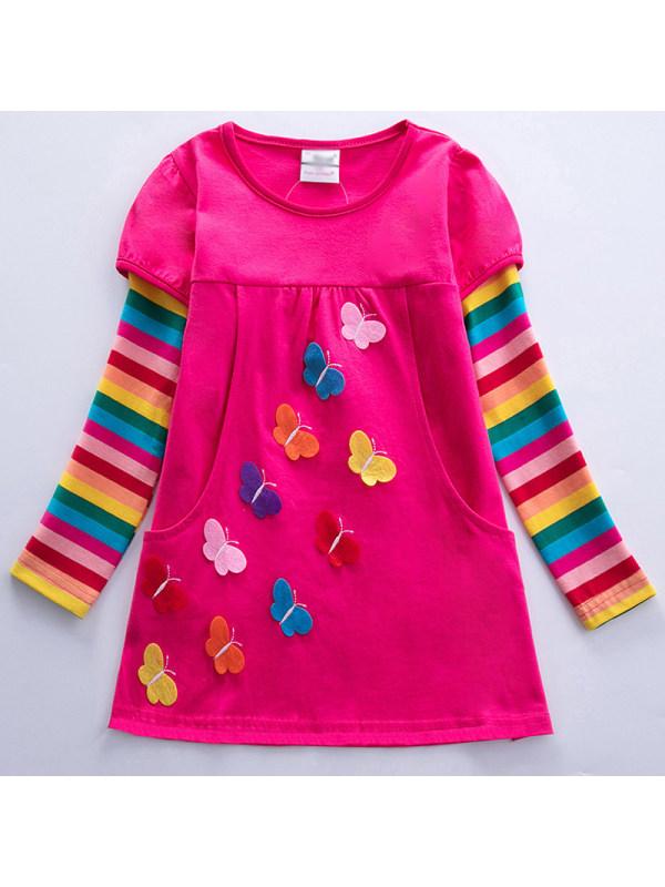【3Y-8Y】Girl Sweet Rainbow Striped Butterfly Dress