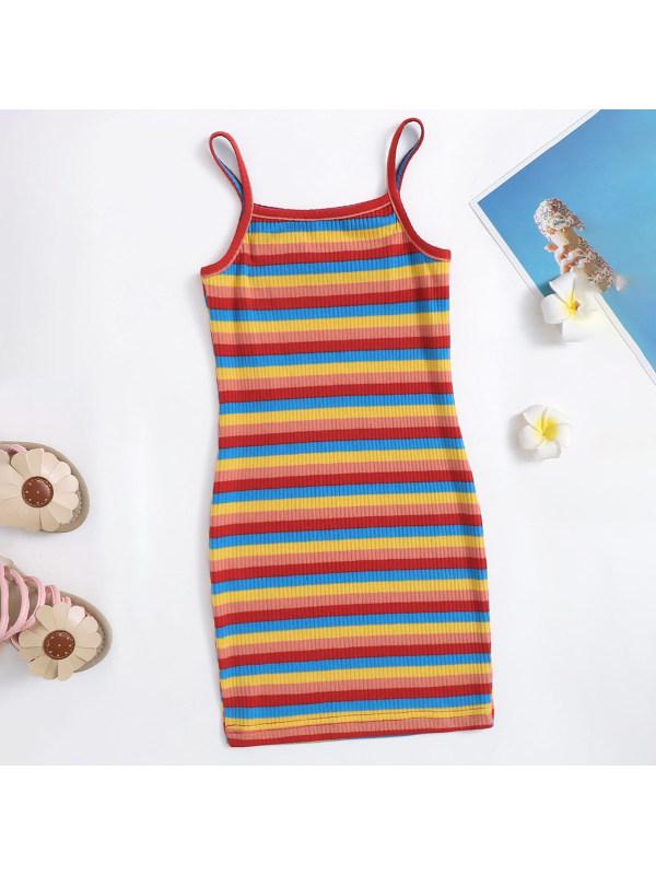 【18M-7Y】Girls Sweet Rainbow Color Striped Sling Dress