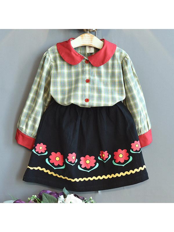 【18M-7Y】Girl Sweet Plaid Shirt And Flower Skirt Set