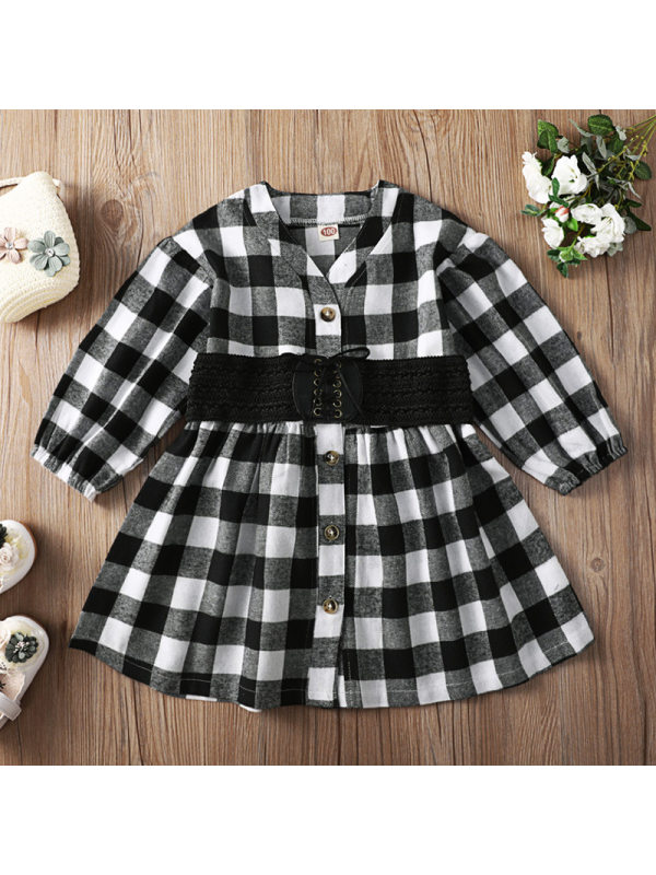 【18M-7Y】Girl Sweet Black And White Plaid Long Sleeve Dress