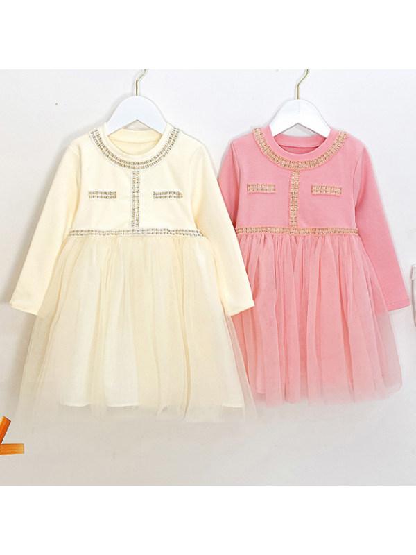 【12M-7Y】Girls Sweet Long Sleeve Mesh Dress
