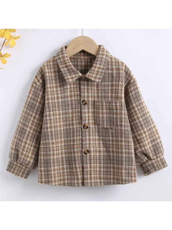 【18M-7Y】Boys Casual Khaki Plaid Long Sleeved Shirt