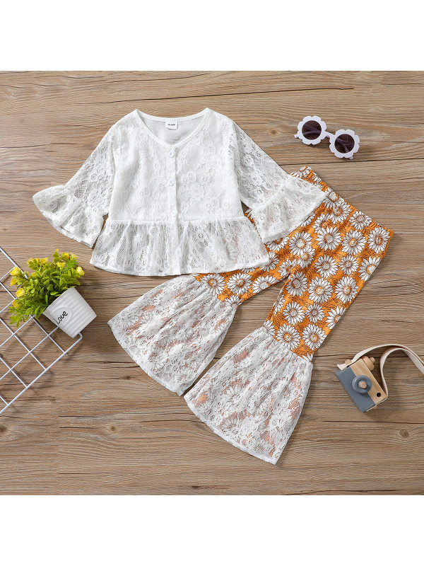 【18M-7Y】Girls Lace Top With Daisy Flare Pants Two-Piece Suit
