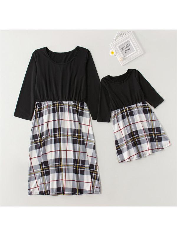 Round Neck Plaid Long Sleeve Mommy Girl Matching Dress