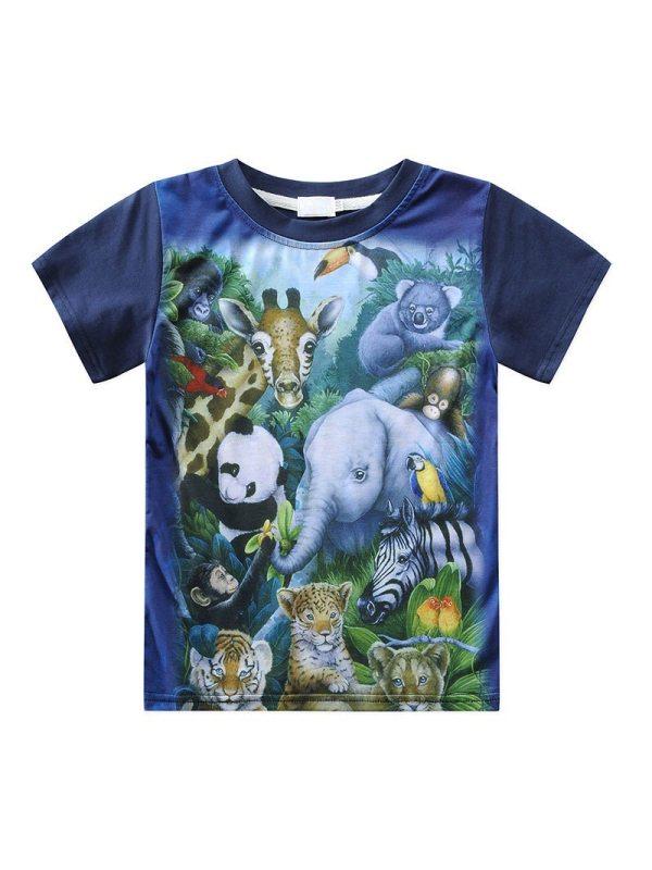 【18M-7Y】Boys Cartoon 3d Print Round Neck Short-sleeved T-shirt