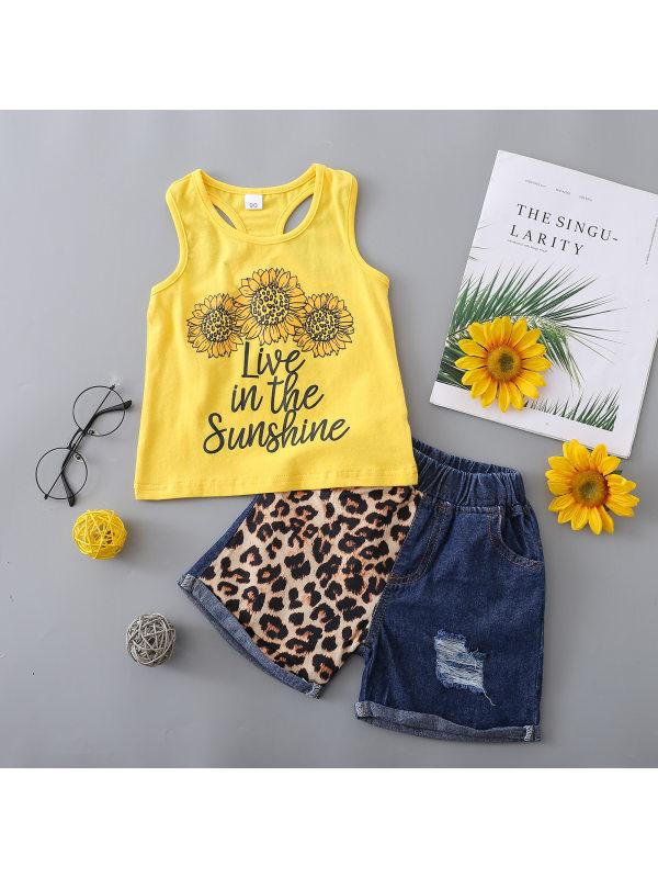 【18M-5Y】Girls Letter Flower Printed Vest With Leopard Print Denim Shorts Set