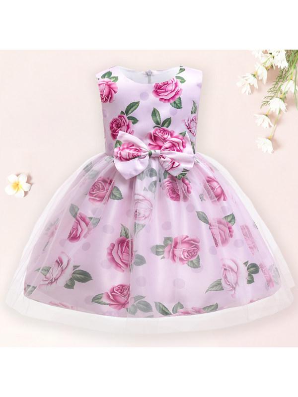 【5Y-10Y】 Girl Sweet Flower Print Pink Dress