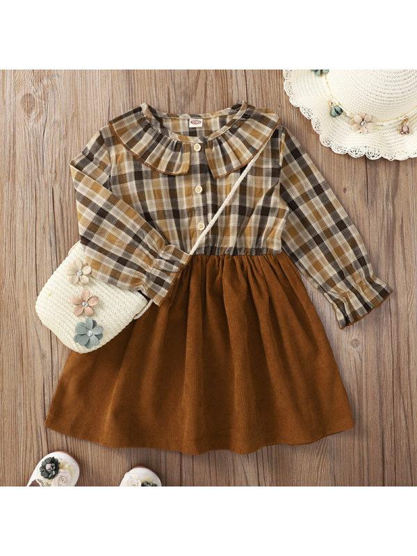 【18M-7Y】Girls Sweet Brown Plaid Long Sleeve Dress