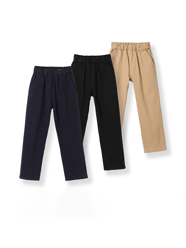 【3Y-15Y】Boys College Style Casual Straight-leg Trousers