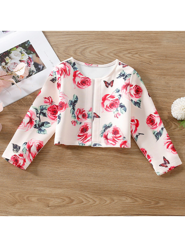 【18M-7Y】Girls Sweet Rose And Butterfly Print Cardigan
