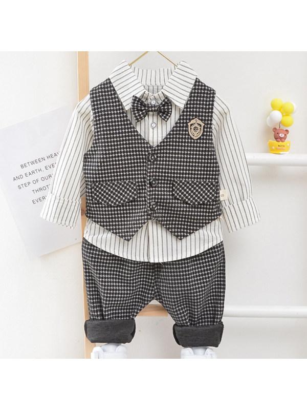 【12M-4Y】Boys Fashion Striped Shirt Houndstooth Vest Pants Three-piece Set