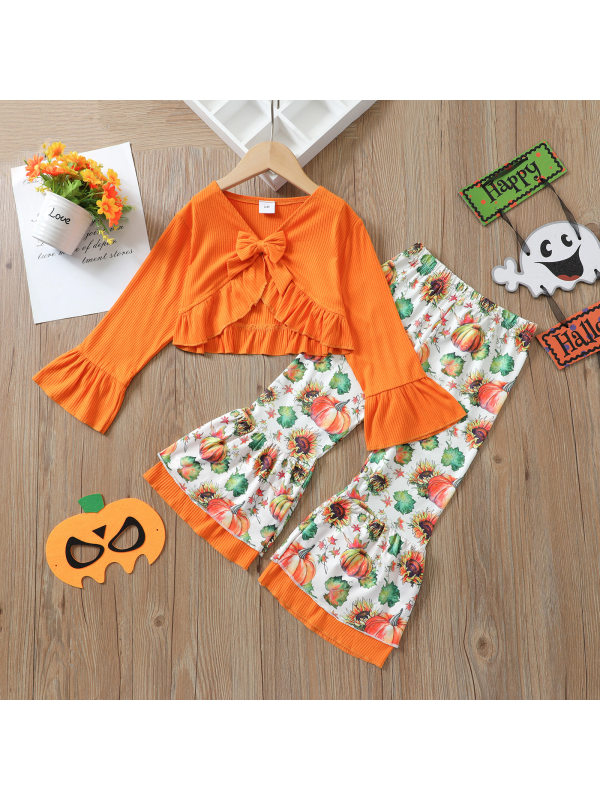 【18M-7Y】Girl V-neck Flared Sleeve Top With Pumpkin Full-print Flared Pants Two-piece Suit