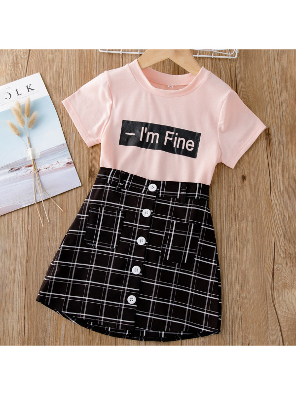 【18M-7Y】Girl Sweet Letter Pink T-shirt And Plaid Skirt Set