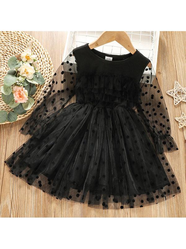 【18M-6Y】Girl Sweet Polka Dot Mesh Black Dress