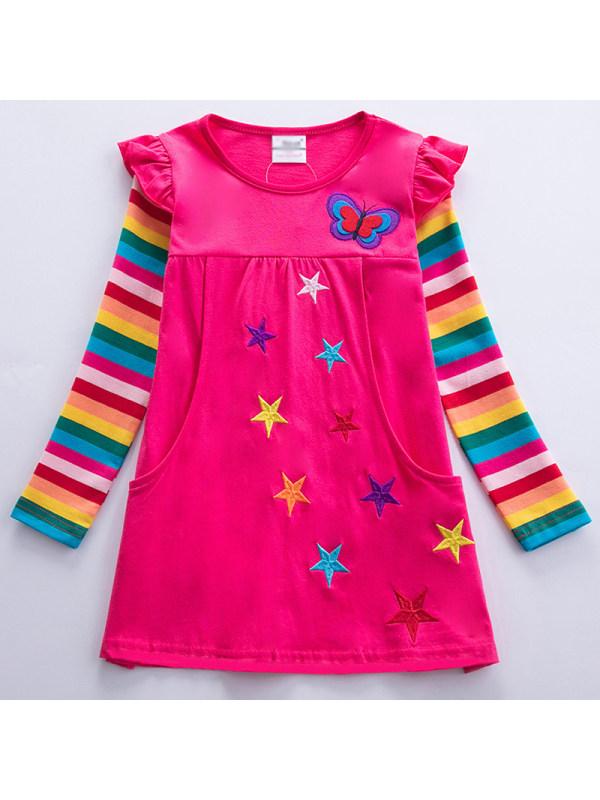 【3Y-8Y】Girl Sweet Rainbow Striped Star Embroidered Dress