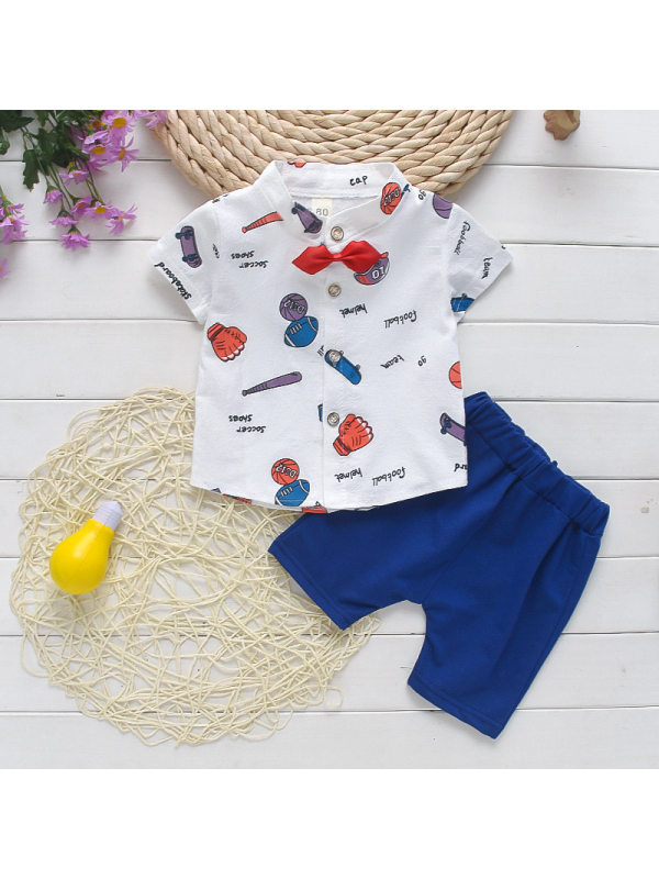 【12M-4Y】Boys Cartoon Print Single-breasted Bow Short-sleeved Shorts Suit