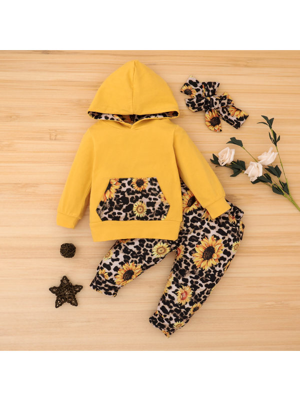 【6M-3Y】Girls Long-sleeved Sunflower Print Two-piece Suit