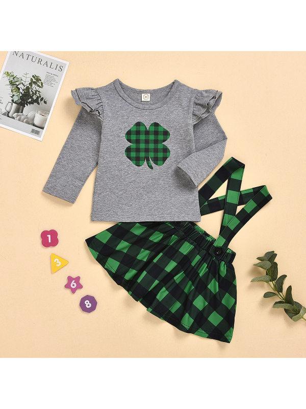 【12M-5Y】Girls Long-sleeved Top Suspender Skirt Two-piece Set
