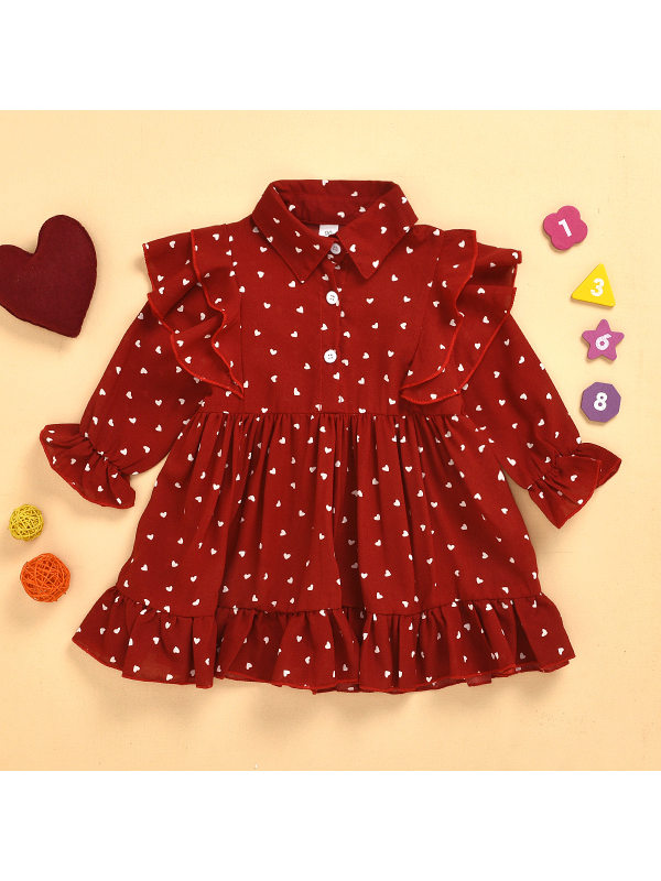 【18M-7Y】Girls Print Long-sleeved Ruffle Dress