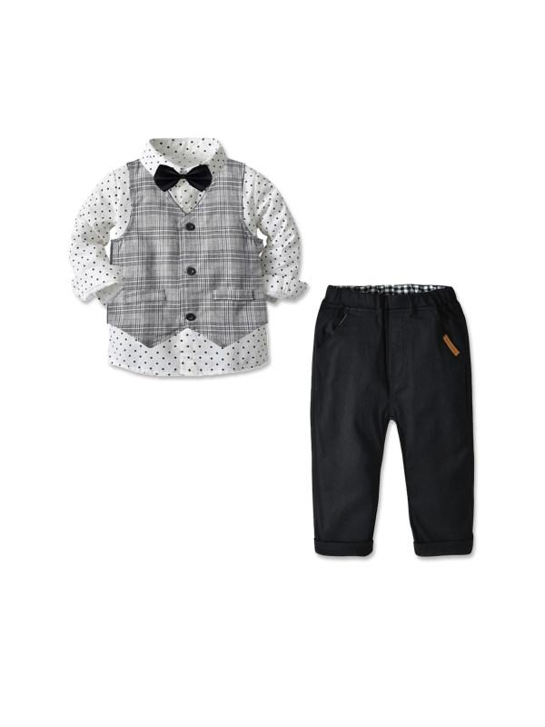 【18M-7Y】Boys Three-piece Long Sleeve Shirt Waistcoat Trousers