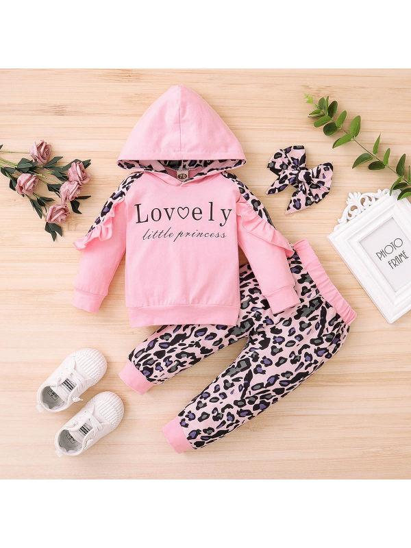 【6M-4Y】Girls Long Sleeve Letter Print Hoodie And Leopard Print Pants Three-piece Set