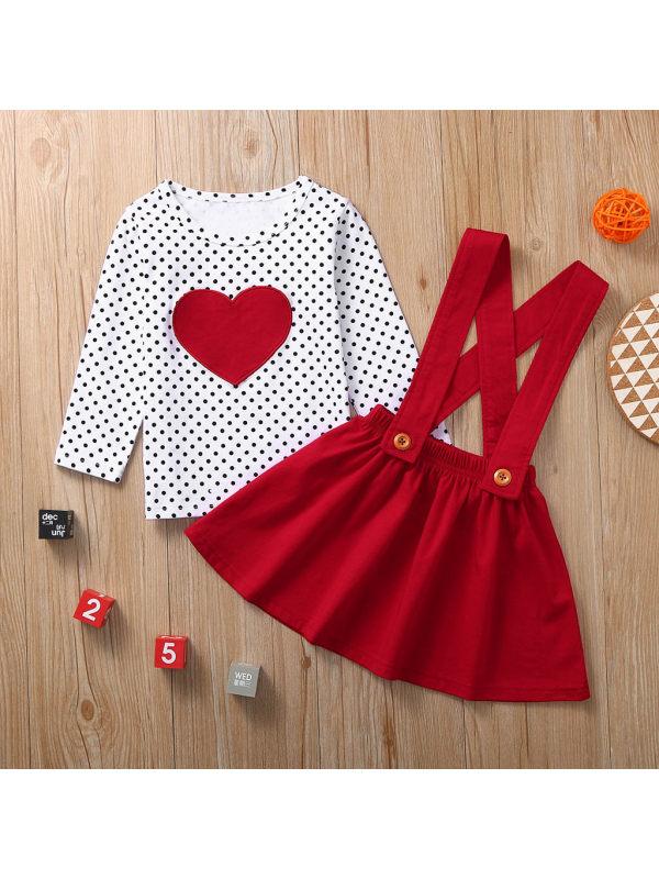 【12M-5Y】Girls Polka Dot Printed Long Sleeve Top Strap Dress Two Piece Set