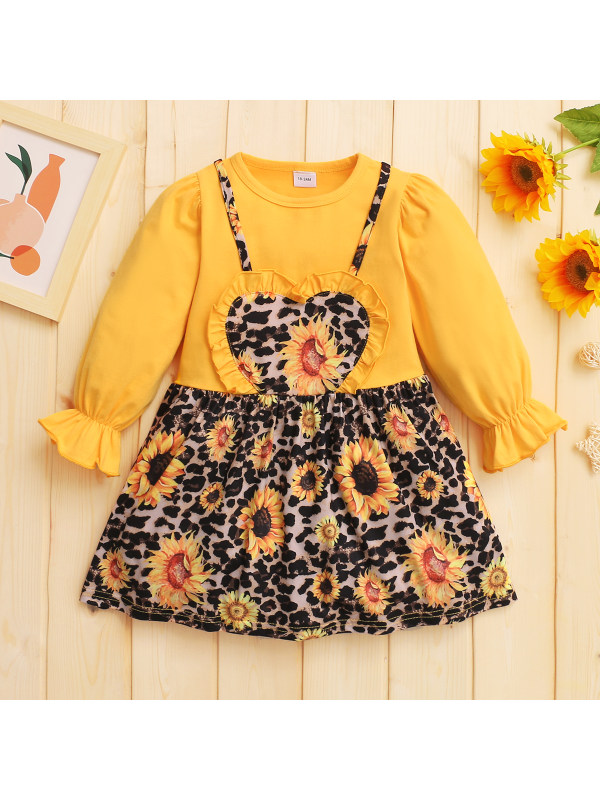 【18M-7Y】Girls Sunflower Printed Long Sleeve Dress
