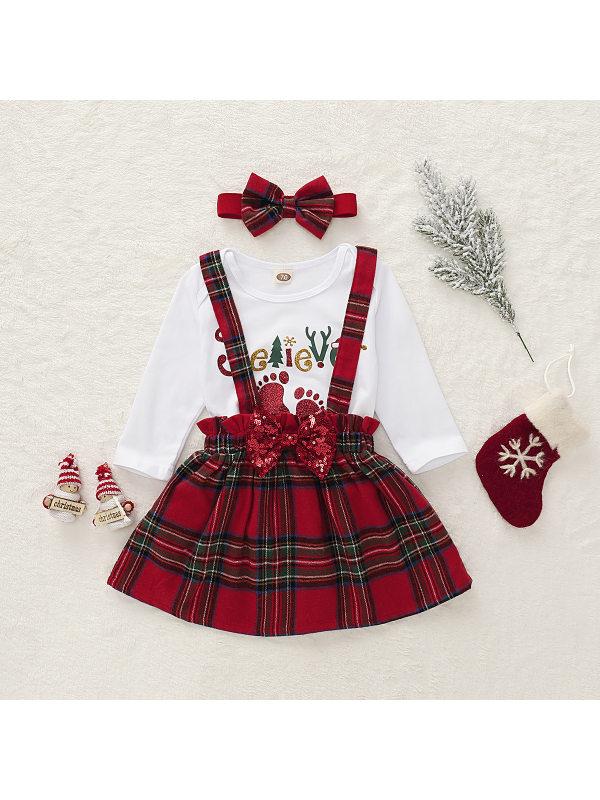 【6M-3Y】Girls Christmas Plaid Suspender Skirt Three-piece Set