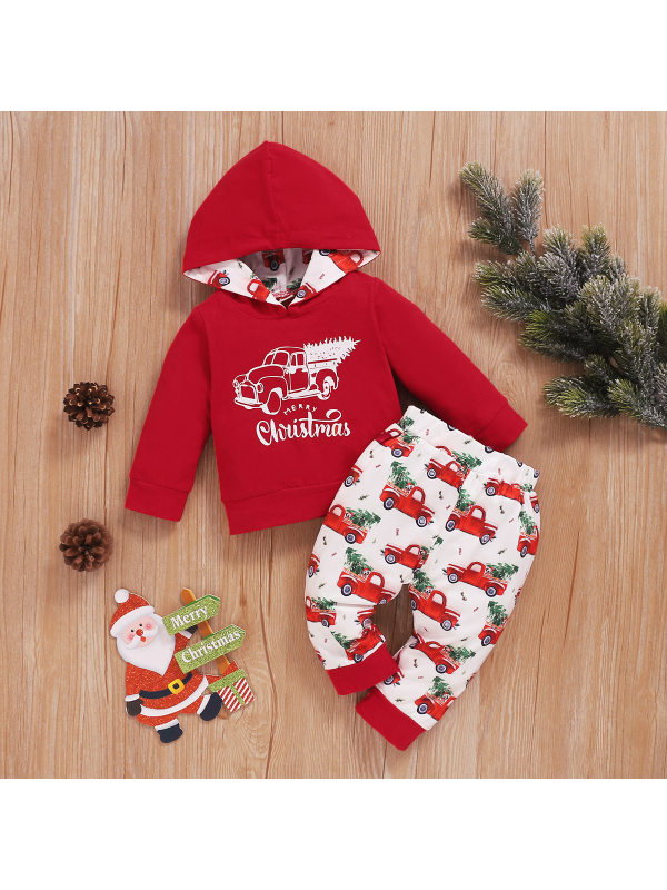 【12M-4Y】Girls Christmas Style Letter Print Two-piece Suit