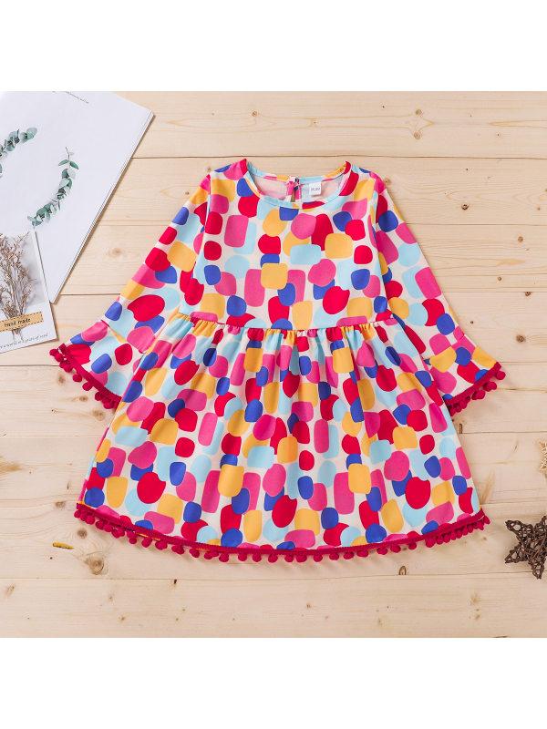 【18M-7Y】Girls Polka Dot Print Flared Long Sleeve Dress