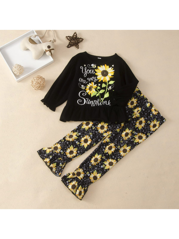 【18M-7Y】Girls Sunflower Print Two-piece Suit